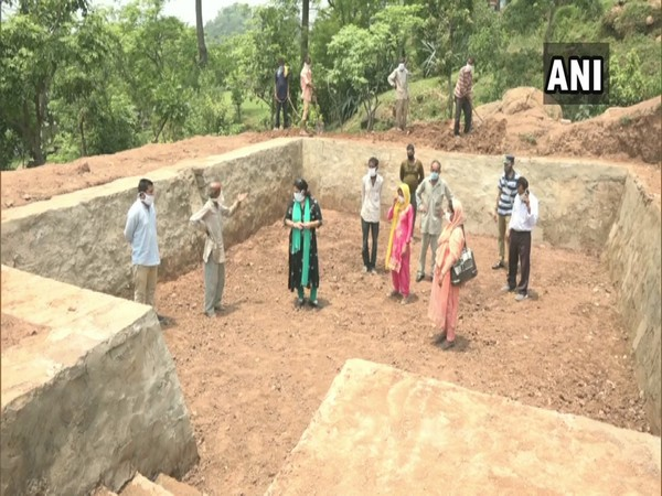 Sapna Lotwal, Project Officer (IWMP) at the construction site in Udhampur's Peroya Jagir village in Jammu and Kashmir.