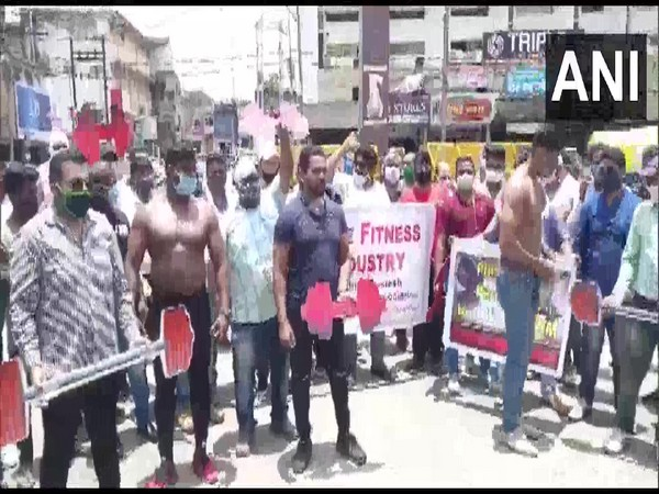 Gym owners and fitness trainers held a demonstration from Madhya Pradesh's Jabalpur district on Wednesday.