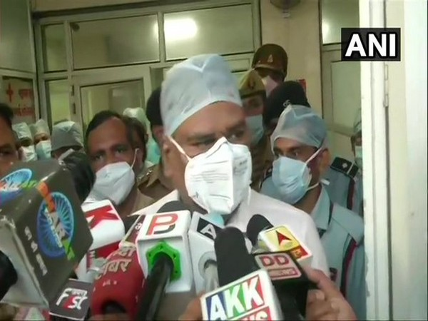 Dr RB Kamal, Principal, LLR Hospital, Kanpur speaking to reporters on Friday. (Photo/ANI)