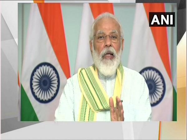 Prime Minister Narendra Modi inaugurated 750 MW solar power project at Rewa, Madhya Pradesh, via video conferencing. [Photo/ANI]