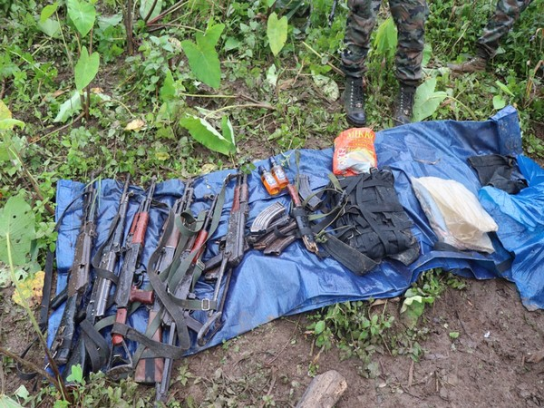 Arms and ammunition seized by the security personnel from NSCN insurgents. [Photo/ANI]