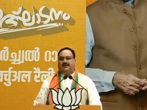 BJP President JP Nadda during the inauguration of newly constructed BJP District Committee office 'Dr Syama Prasad Mookerjee Mandiram' in Kasaragod, Kerala. [Photo/ANI]