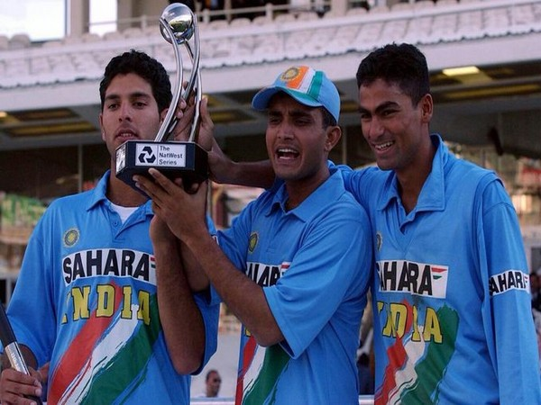 Yuvraj Singh, Sourav Ganguly, and Mohammad Kaif after Natwest Trophy triumph (Photo/ Mohammad Kaif Twitter)