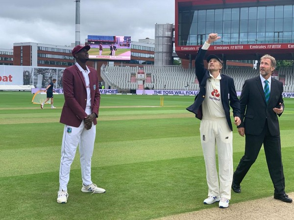 Skippers Jason Holder and Joe Root at the time of toss (Photo/ Windies Cricket Twitter)