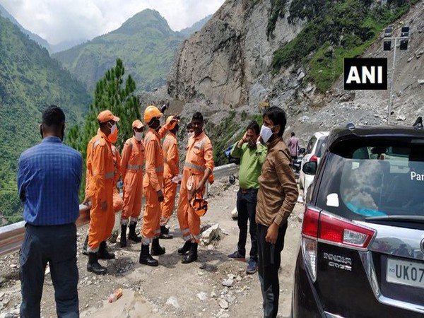 National Disaster Relief Force at the Badrinath Highway on Sunday