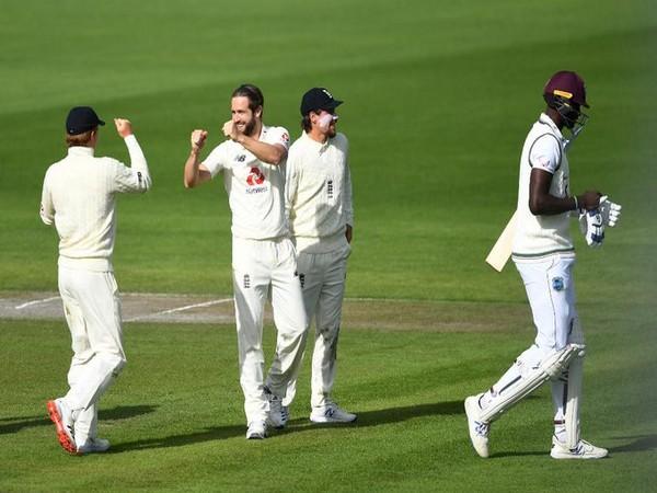 England's Chris Woakes celebrates after dismissing Jason Holder (Photo/ICC Twitter)