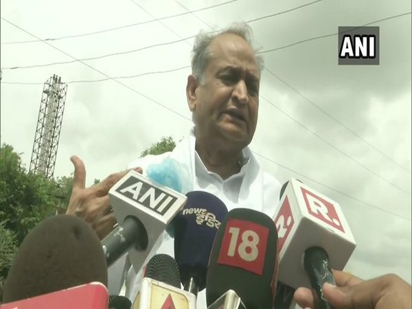 Rajasthan Chief Minister Ashok Gehlot speaking to reporters in Jaipur on Monday. Photo/ANI