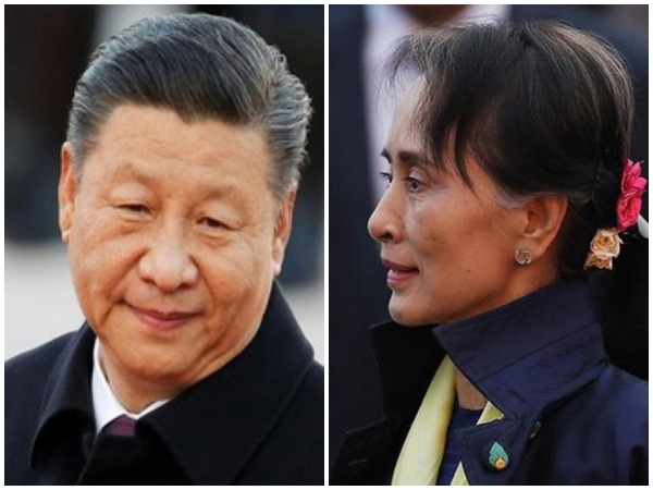 Chinese President Xi Jinping and State Counsellor State Counsellor Aung San Suu Kyi (file photo)