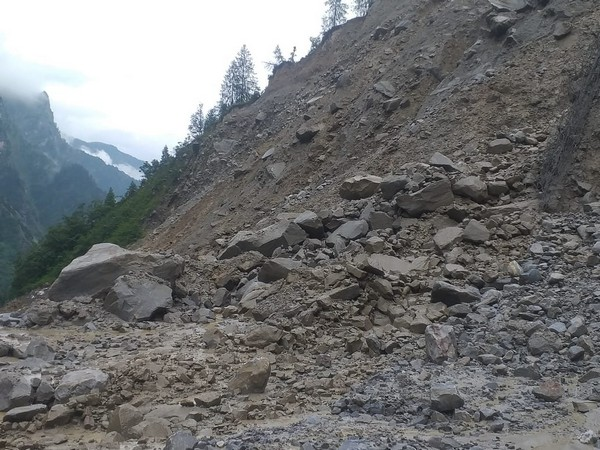 Landslide in Chamoli district on Sunday (Photo/ANI)