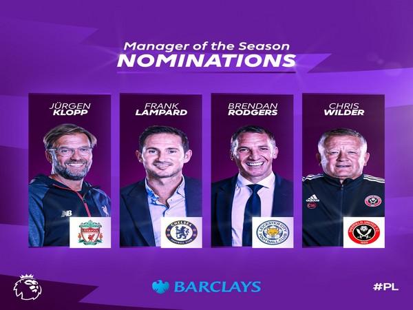 Jurgen Klopp, Frank Lampard, Brendan Rodgers, Chris Wilder (Photo/ Premier League Twitter)