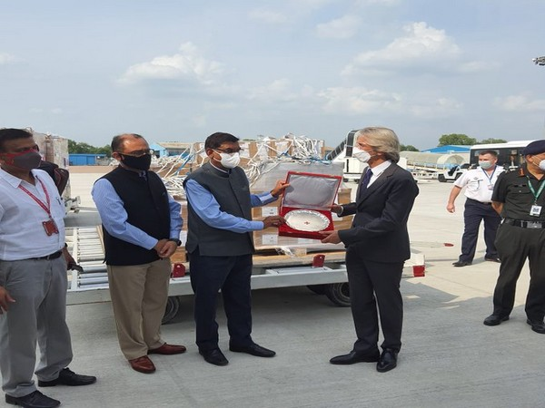 French Ambassador Emmanuel Lenain on Tuesday handed over medical supplies to RK Jain, Secretary-General of Indian Red Cross Society.