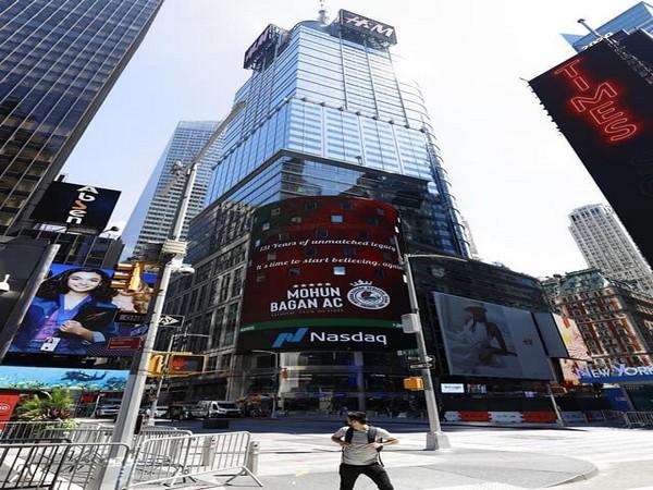 Mohun Bagan gets featured on NASDAQ billboard in New York (Photo/ Mohun Bagan Twitter)