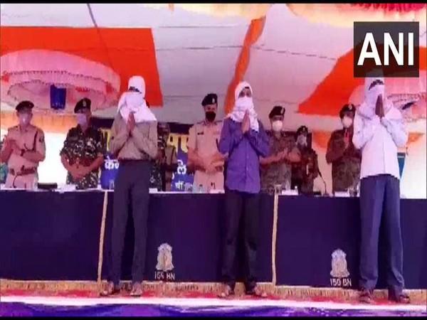 Three Naxals surrendered at 159 Battalion CRPF camp in Gaya (Photo/ANI)