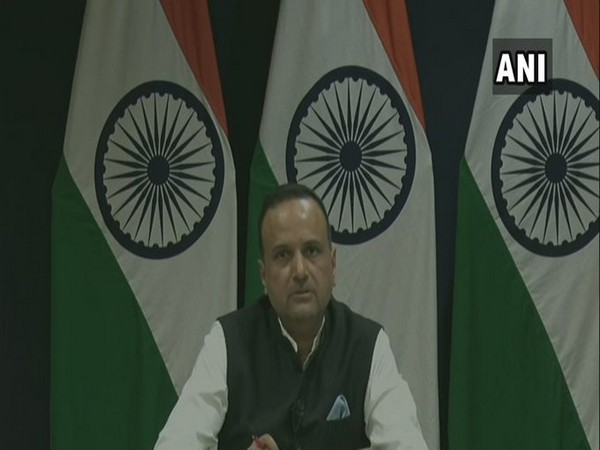 MEA Spokesperson Anurag Srivastava speaking at the daily weekly press briefing on Thursday. Photo/ANI