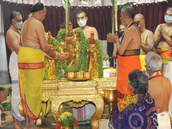 The three-day-long annual ritual of Pavithrotsavam started at the Lord Balaji temple at Tirumala amid the ongoing COVID-19 pandemic. (Photo/ANI)