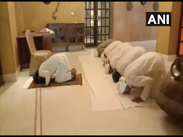 Congress MLAs offering prayers on the occasion of Eid Al-Adha at Jaisalmer's Suryagarh Hotel