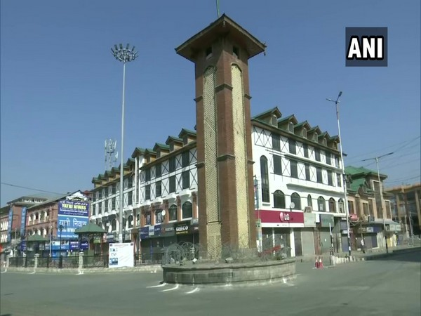 Lal Chowk, Srinagar wears a deserted look on Sunday.