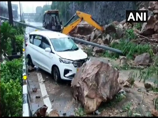 The Western Express Highway was blocked in Mumbai's Malad area due to landslides, following heavy rainfall the night before.