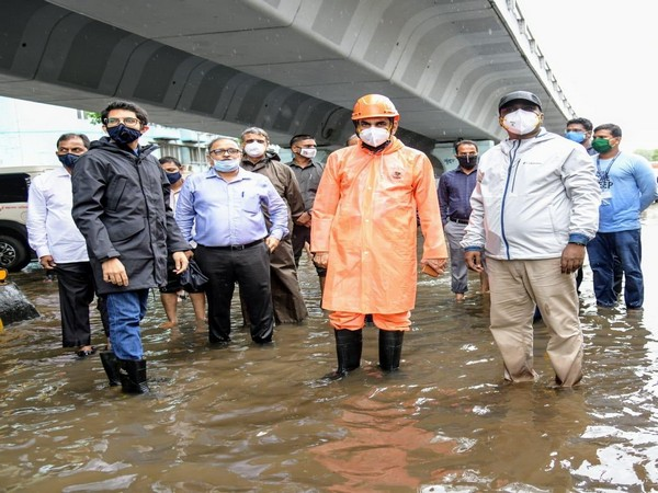 Aaditya Thackeray with BMC Commissioner Iqbal Chahal visiting areas affected due to rain in Mumbai