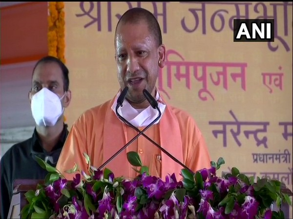 Uttar Pradesh Chief Minister Yogi Adityanath speaking after the bhoomi pujan concluded for Ram temple construction in Ayodhya on Wednesday. (Photo/ANI)