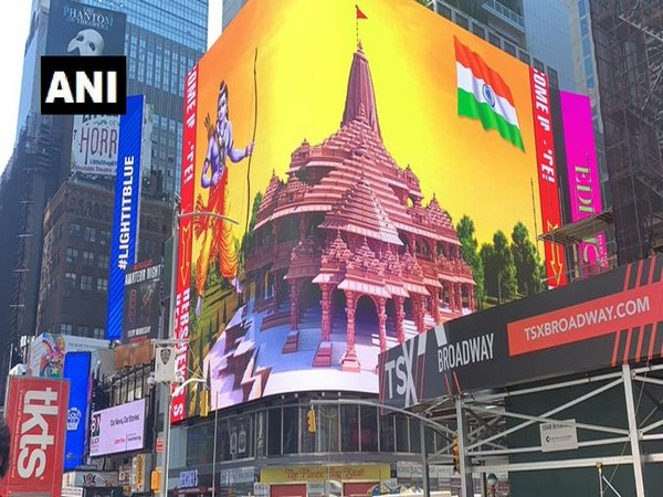 Largest high-definition digital display of Lord Ram in New York's Broadway. Photo/ANI
