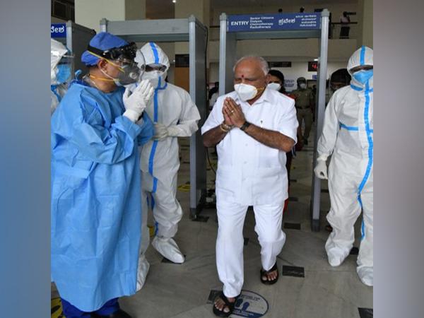 Karnataka Chief Minister BS Yediyurappa leaving Manipal Hospital on Monday (Source:Twitter)