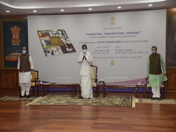 [From L to R] Union Minister Rajnath Singh with V-P Venkaiah Naidu and Union Minister Prakash Javedkar at a book launch in Upa-Rashtrapati Nivas in Delhi [Photo/ANI]