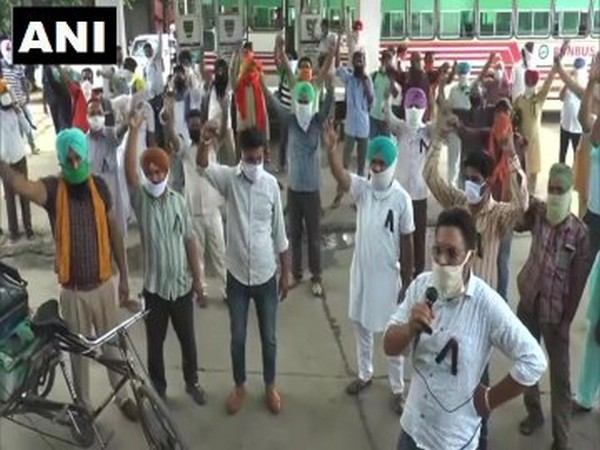 Members of the Punjab Roadways Punbus Contract Union launch protest against state government on Tuesday [Photo/ANI]