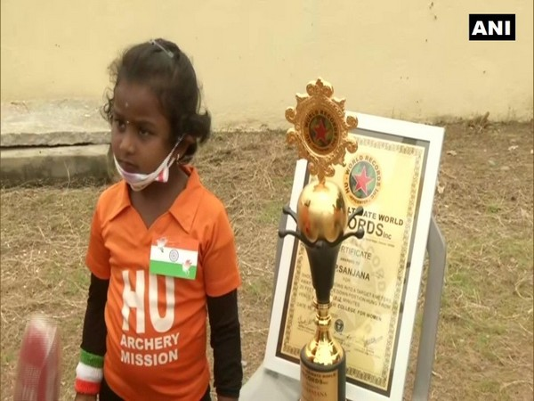 Sanjana, a five-year-old girl, created her fourth record on Saturday. (Photo/ANI)