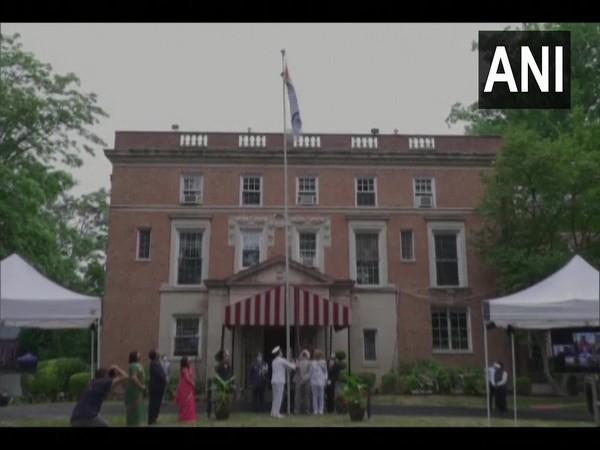 Ambassador of India to US, Taranjit Singh Sandhu hoisted the national flag at India House in Washington, DC
