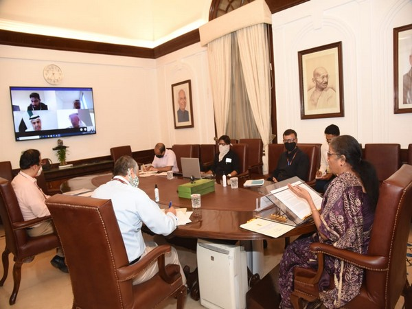 Finance Minister Nirmala Sitharaman holding a virtual conference with UAE's Minister of State for Financial Affairs Obaid Al Tayer. (Photo credit: Ministry of Finance twitter)