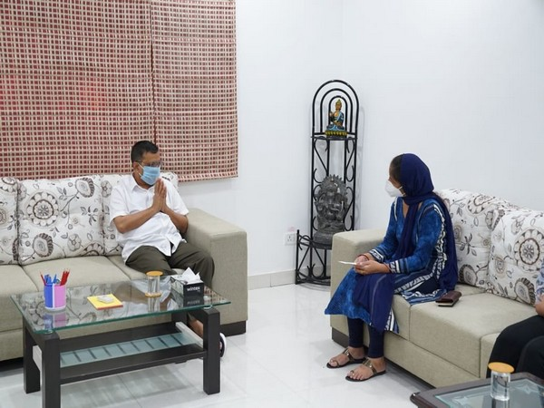 Delhi CM Arvind Kejriwal visits family of late Rajesh Kumar Bhardwaj.
