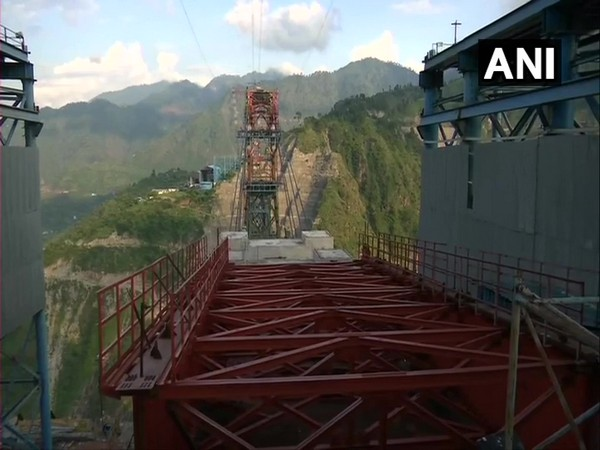 Construction of the world's highest railway bridge, being built across Chenab river in Reasi district, is underway.