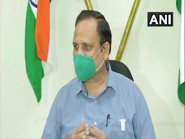 Delhi Health Minister Satyendar Jain speaking to reporers on Monday. Photo/ANI