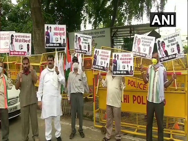 A visual from outside the AICC office in New Delhi on Monday. Photo/ANI