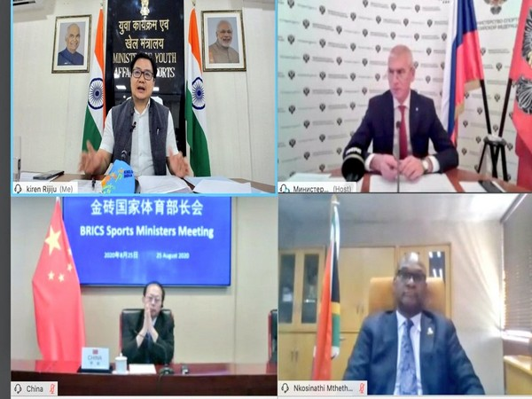 Sports Ministers of BRICS meet via video conference to assess the impact of Covid 19 on sports (Photo/ Kiren Rijiju Twitter)