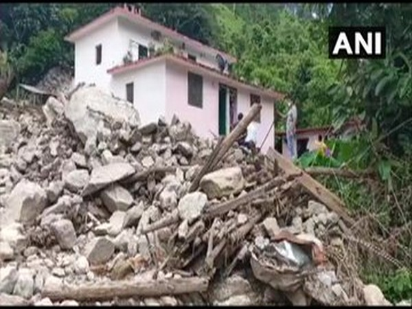 A damaged house in Dharchula district following rains (Photo/ANI)