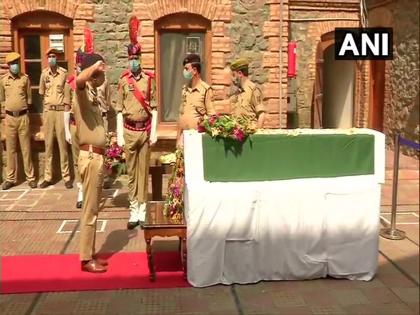 A visual from the wreath laying ceremony of ASI Babu Ram in Srinagar on Sunday. Photo/ANI
