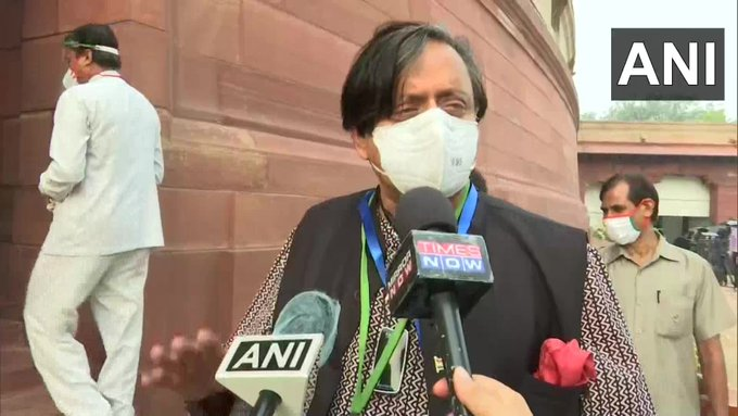 Congress Leader Shashi Tharoor speaking to reporters on Monday. (Photo/ANI)