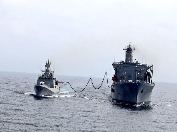 INS Talwar on Monday undertook refuelling with US Navy tanker USNS Yukon in northern Arabian Sea under LEMOA. (Photo credit: Indian Navy Twitter)