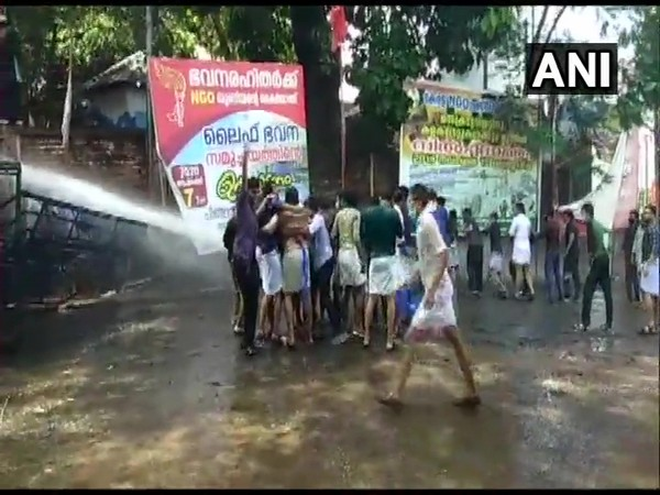 Water cannons being used to disperse protestors (Photo/ANI)