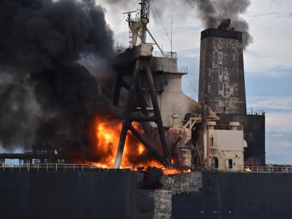 An explosion onboard the oil tanker 'MT New Diamond' 37 nautical miles east off Sri Lanka coast.