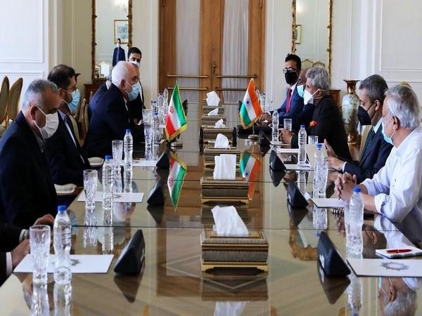 EAM S Jaishankar holding meeting with Iranian Foreign Minister Mohammad Javad Zarif on Tuesday. (Photo credit: S Jaishankar Twitter)
