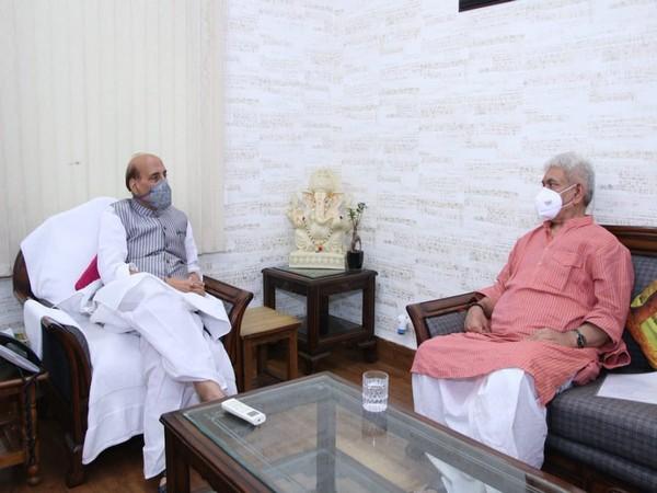 Defence Minister Rajnath Singh (left) Jammu and Kashmir Lieutenant Governor, Manoj Sinha (right)