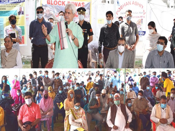 Lieutenant Governor of Jammu and Kashmir Manoj Sinha in Khanmoh on Wednesday.