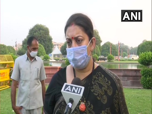 Union Minister Smriti Irani speaking to ANI (Photo/ANI)