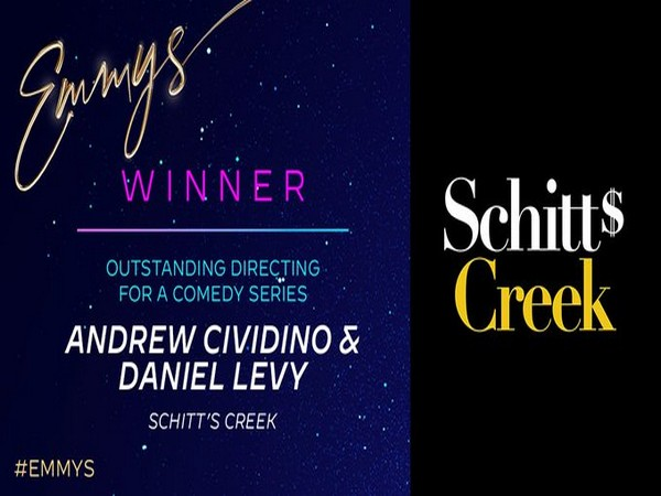 Andrew Cividino and Dan Levy win the Emmy in category of 'Outstanding Directing for a Comedy Series' for Schitt's Creek. (Image Source: Twitter)