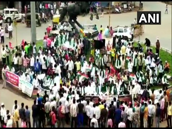 Protesters gathered at Chennamma Circle in Hubli, Karnataka (Photo/ANI)