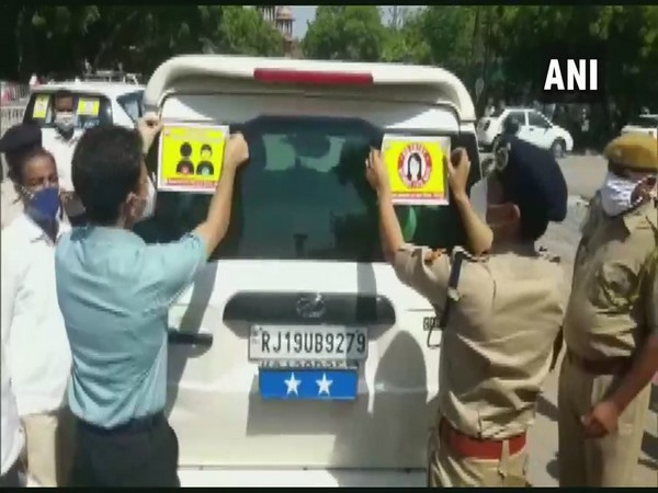 Posters were pasted on vehicles as part of the campaign. (Photo/ANI)