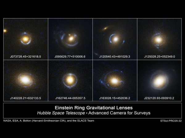 Examples of Einstein ring. Image source: NASA/ESA/SLACS Survey team: A. Bolton (Harvard/Smithsonian), S. Burles (MIT), L. Koopmans (Kapteyn), T. Treu (UCSB), L. Moustakas (JPL/Caltech)